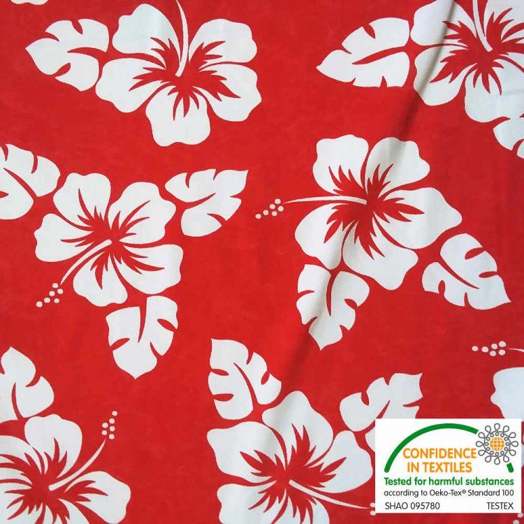 Lycra fundo vermelho flor branca