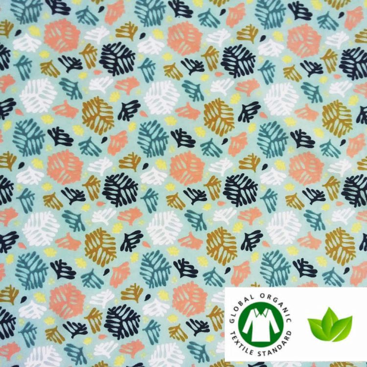 Malha de algodão orgânico samambaia